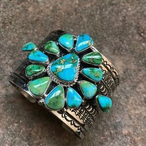 Navajo S. S. Sonoran Gold Turquoise Cuff Bracelet.